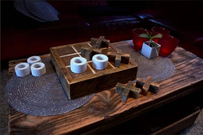 How to build a tic tac toe board game out of reclaimed wood